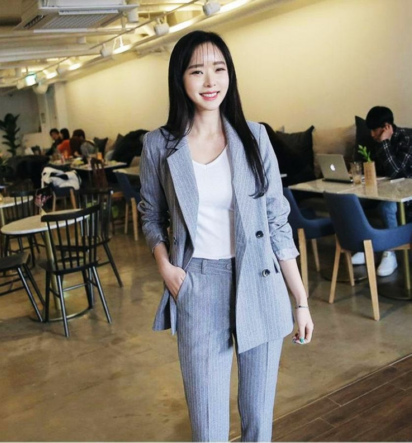 2019 Spring Work Pant Suits Ol 2 Piece Sets Double