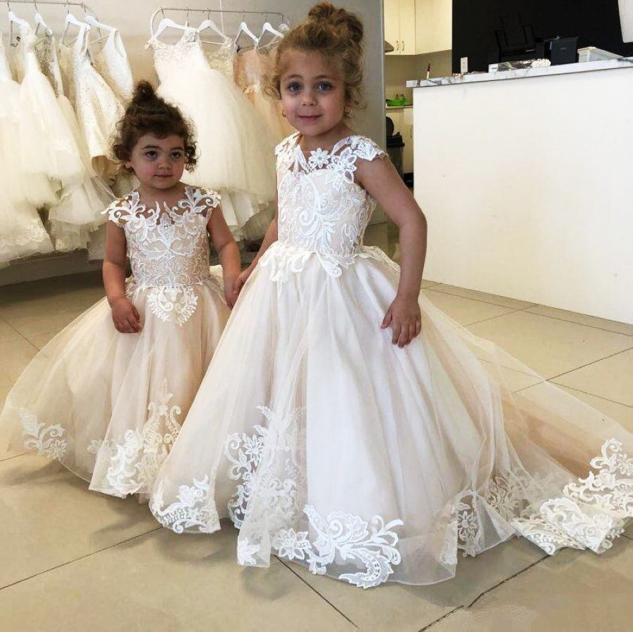 Lace Ball Gown Flower Girl Dress For Wedding Buttons Back