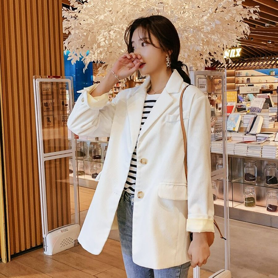 2019 Spring New Fashion Womens Corduroy Loose Jacket Casual Suit
