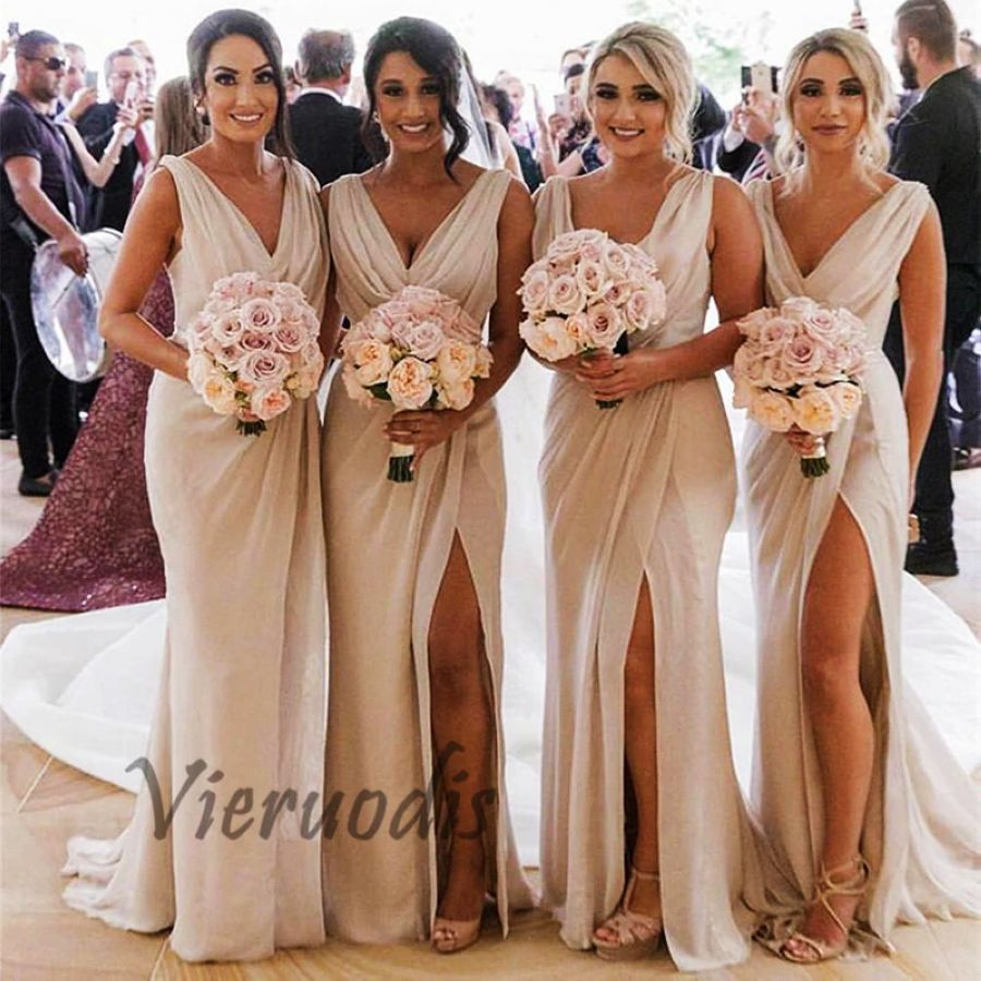 Chiffon Bridesmaid Dresses Long 2019 V-Neck Side Slit Robe Demoiselle