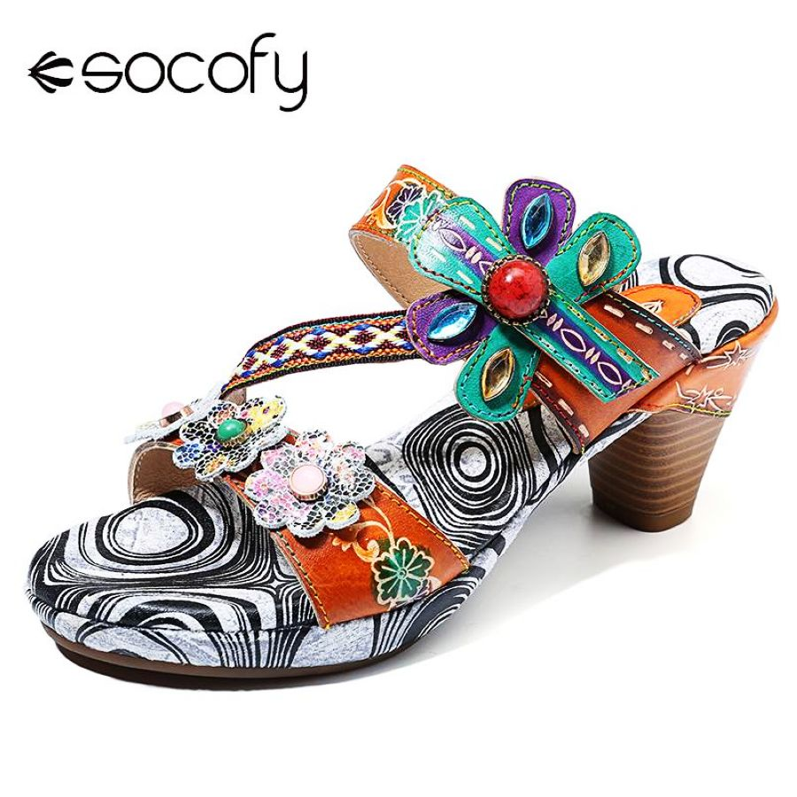 Shoes Socofy Bohemia Floral Retro Buckle Gems Hand Painted Genuine