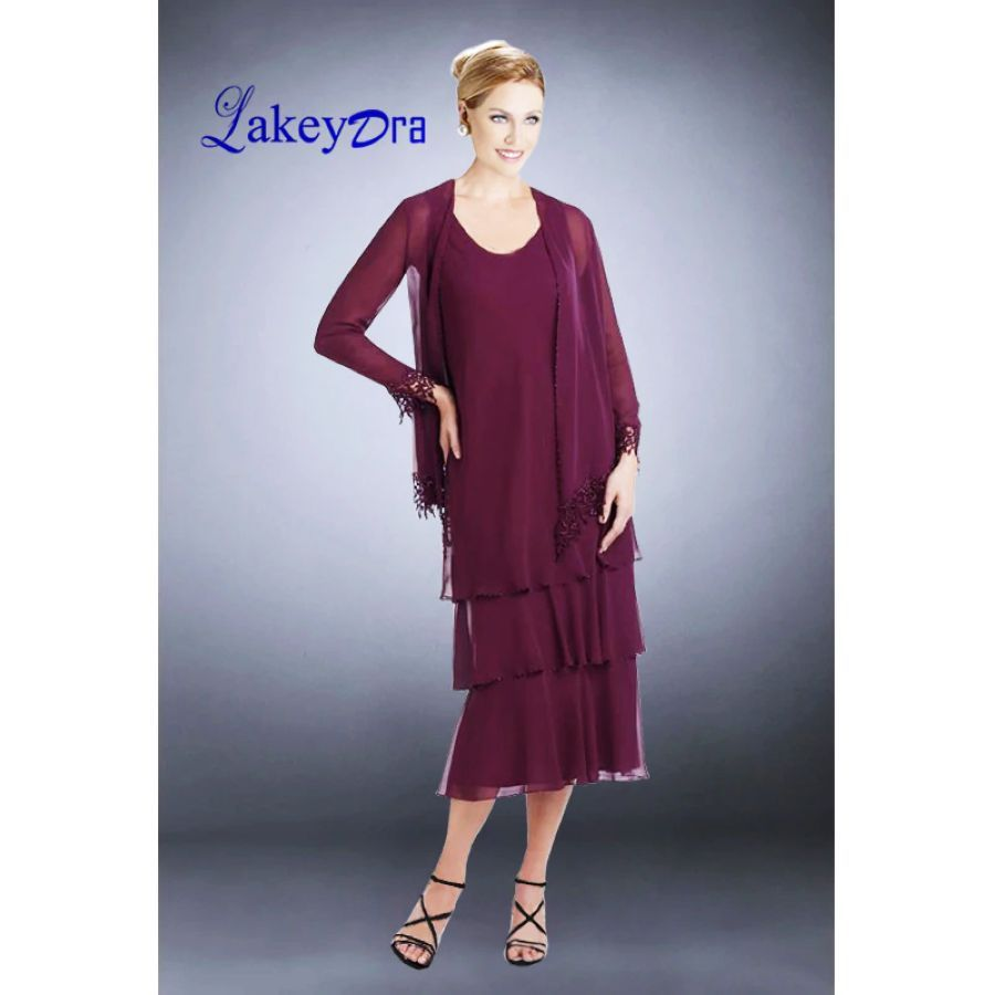 Lakeydra Burgundy Mother Of The Bride Dresses With Chiffon Jacket
