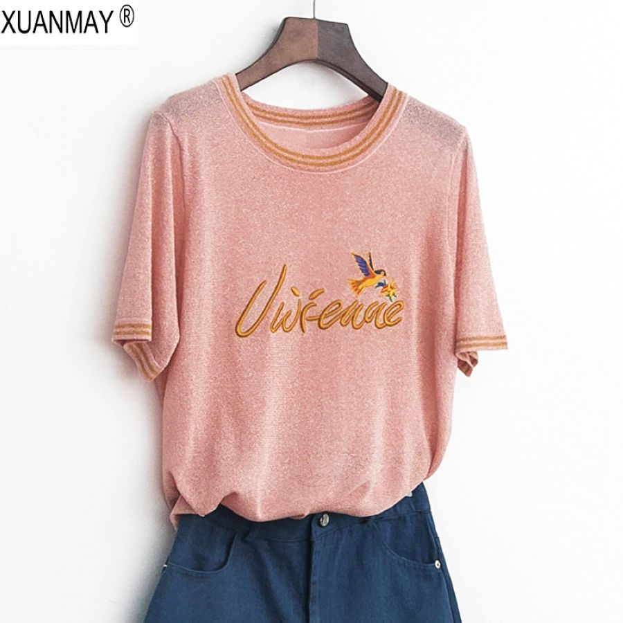 2019 Summer Womens Thin Sweater Bright Fabric Short-Sleeved Knit Top