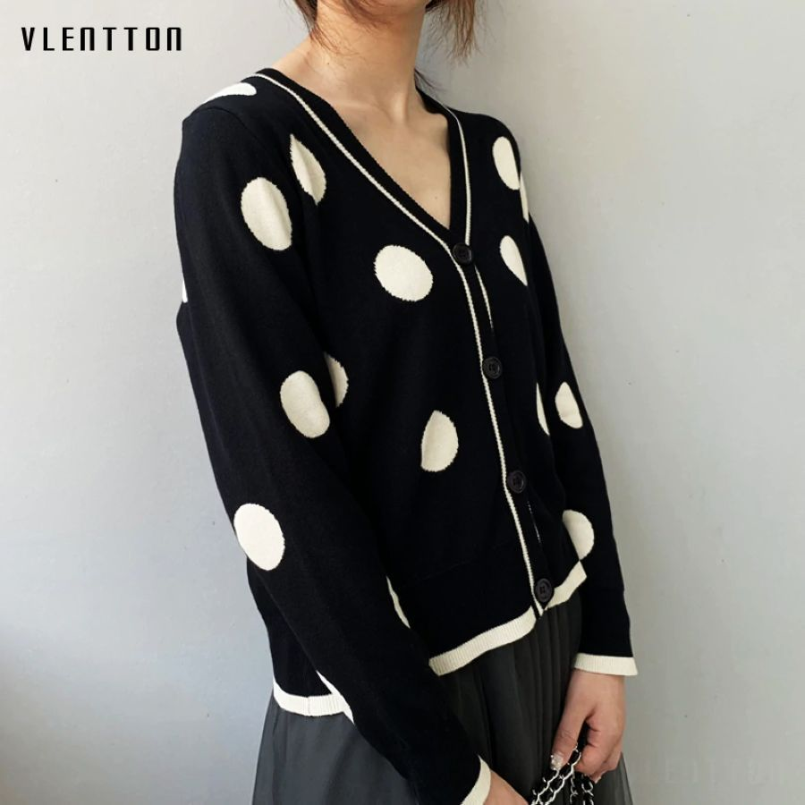 2019 New Vintage Female Knitted Cardigan Sweater V-Neck Long Sleeve