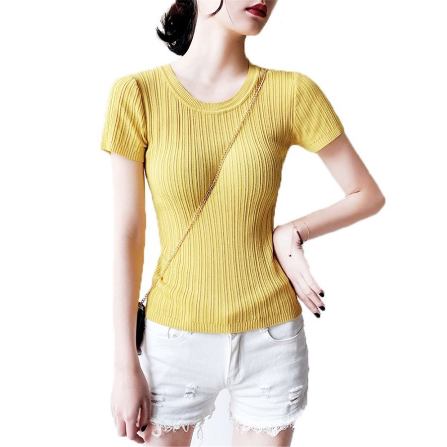 Womens Summer Knitted Ball Sweater Solid Color Cotton Round Neck
