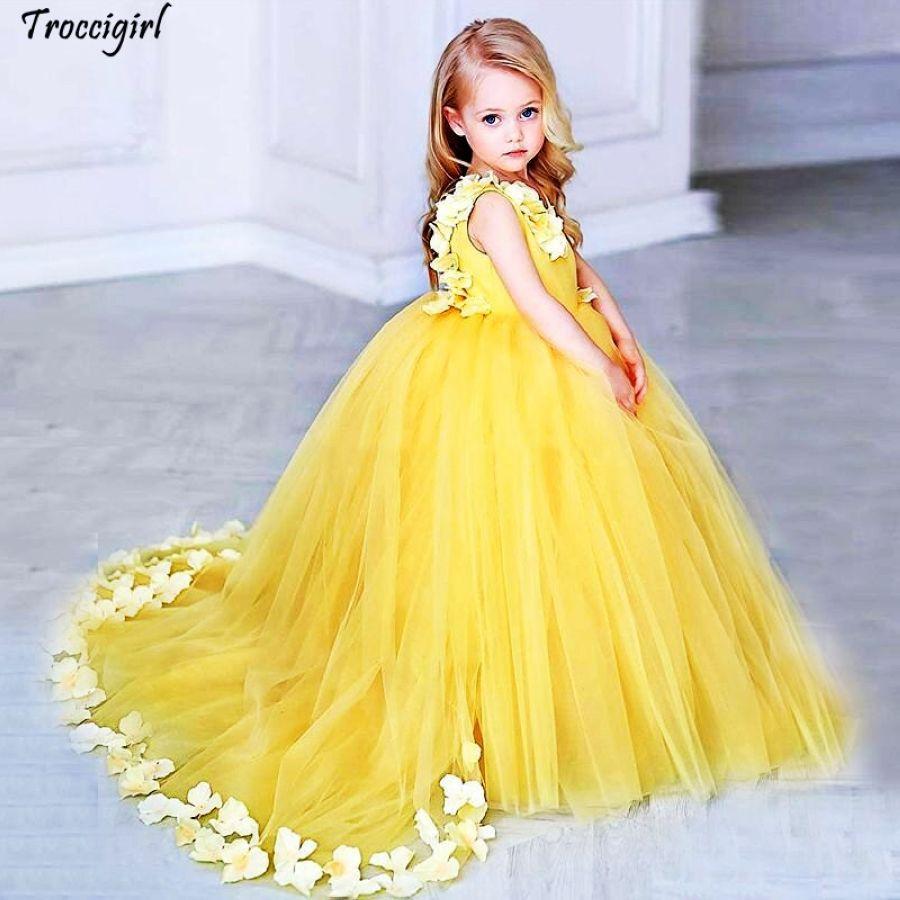 Yellow Flower Girls Dresses For Weddings V Neck Satin Tulle