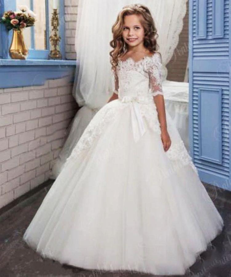 White Lace Flower Girl Dresses For Weddings Tulle Baby Girl