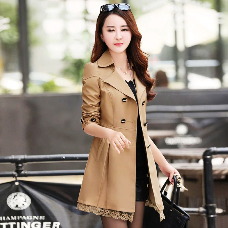 2019 Autumn Khaki Trench Coat For Women Streetwear Lace Turn-Down