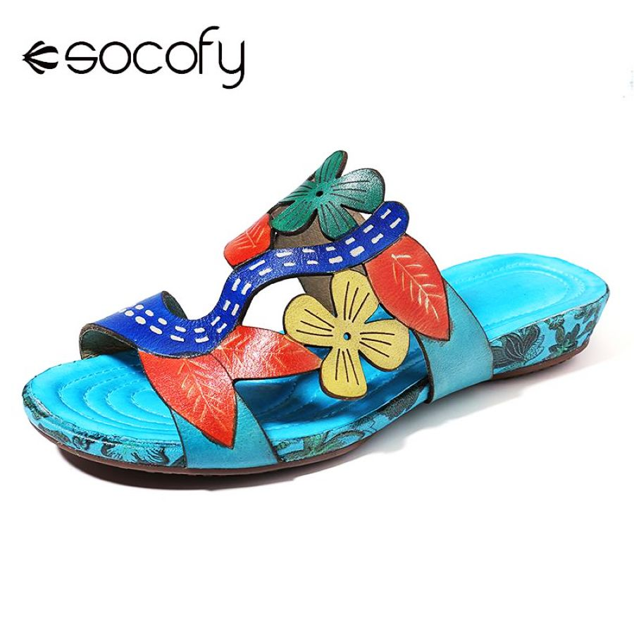 Shoes Socofy Bohemia Genuine Leather Flowers Leaves Splicing Comfortable Stitching