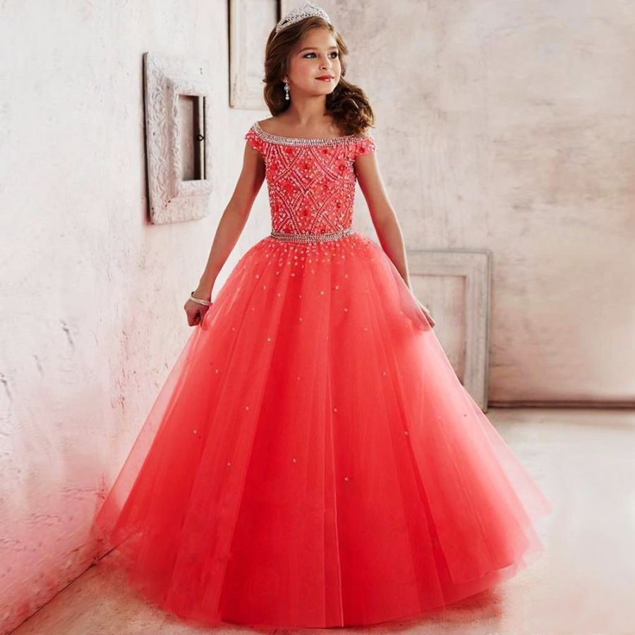 Kids Pageant Ball Gown Dress Girls Pageant Interview Suits Long