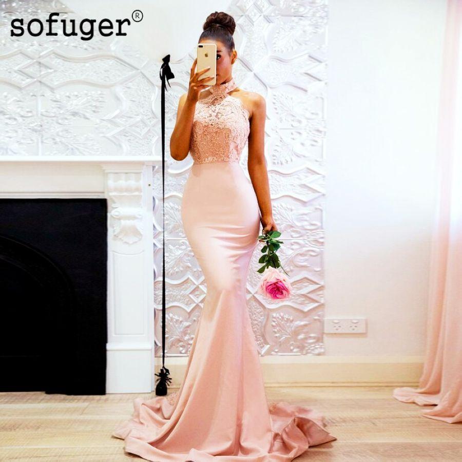 Pink 2019 Cheap Bridesmaid Dresses Mermaid Halter Beaded Lace Backless