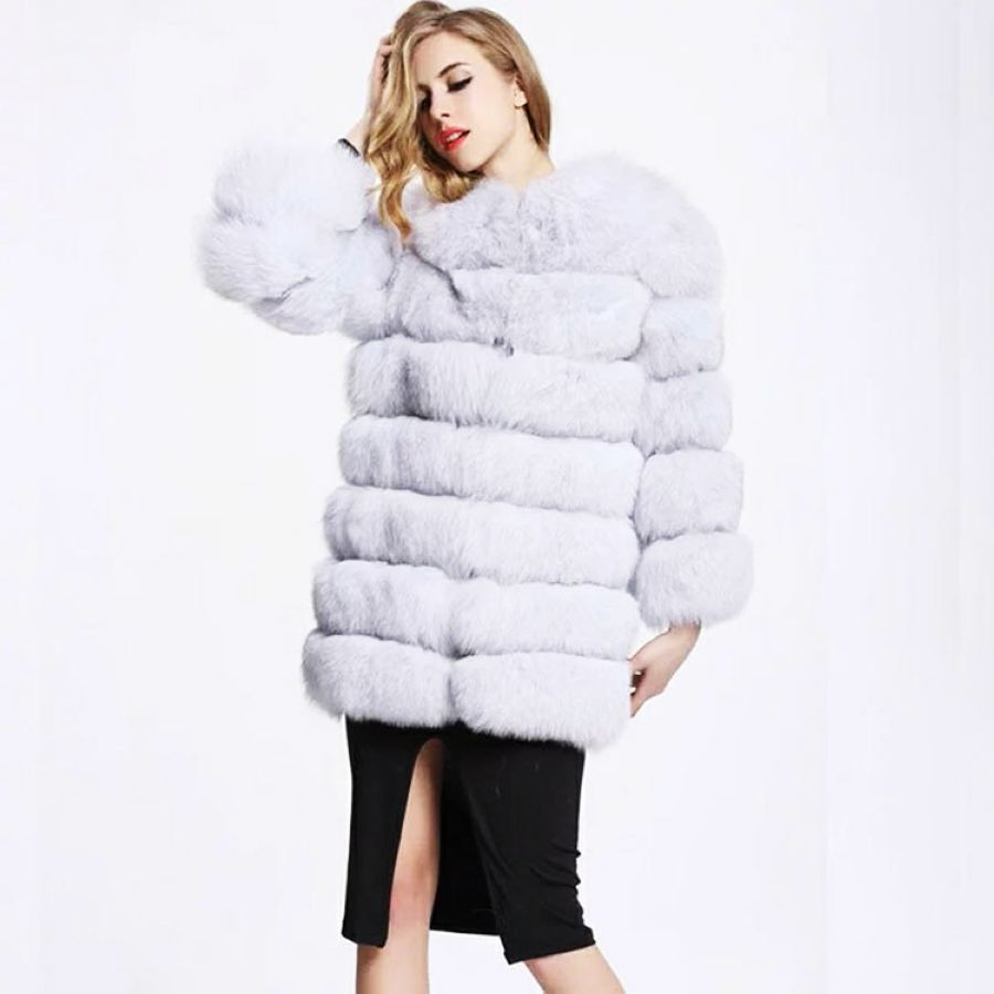 2019 New Style Winter Warm Fluffy Faux Long Coat Medium-Long