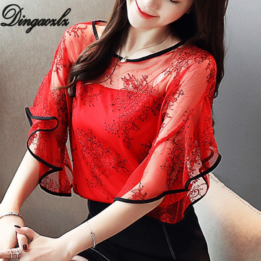 Dingaozlz Summer New Fairy Lace Stitching Women Shirt Butterfly Sleeve