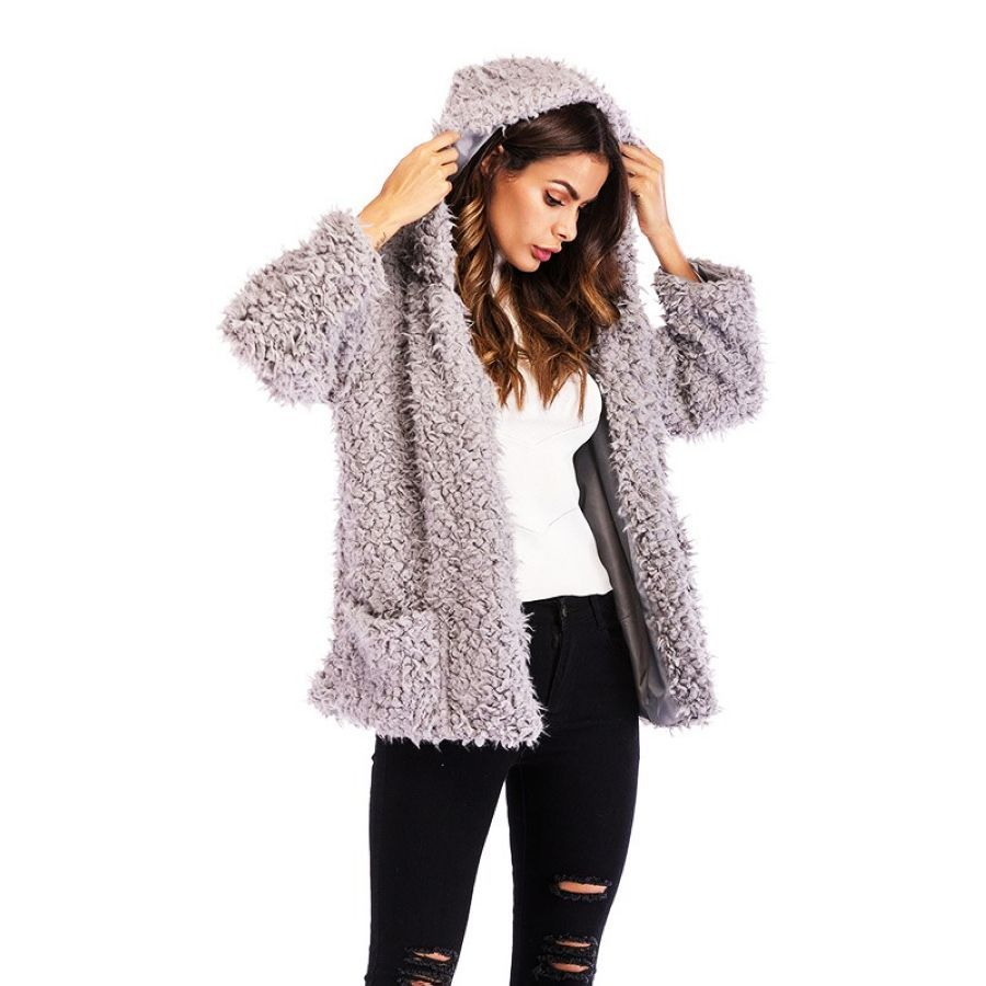 Autumn Winter New Fashion Hooded Jacket Woman Long-Sleeved Loose Wool