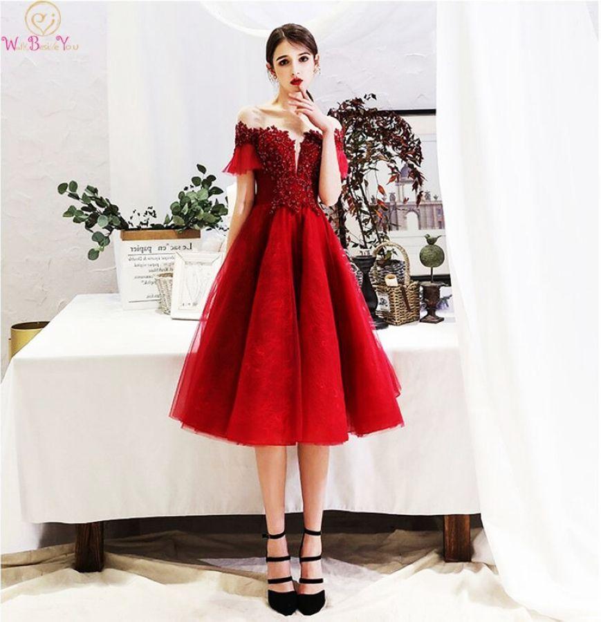 Wine Red Prom Dress Short Keen Length Short Sleeves Capped