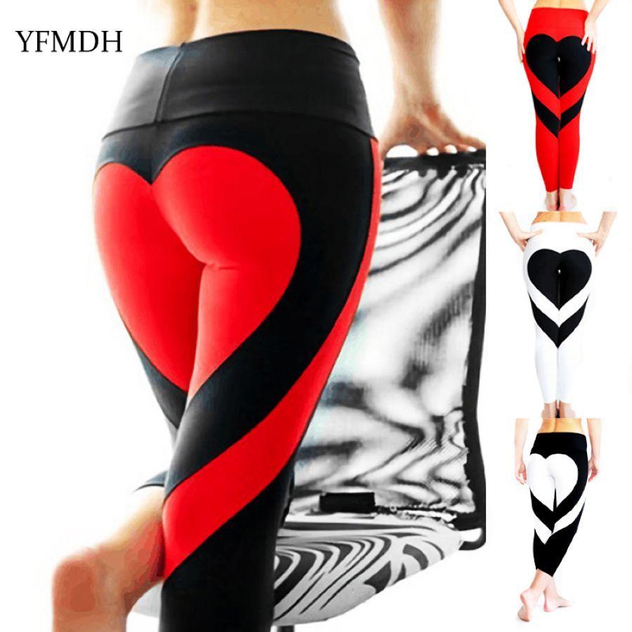 Love Heart Printed Women Fitness Leggins Mesh Pants Push Up