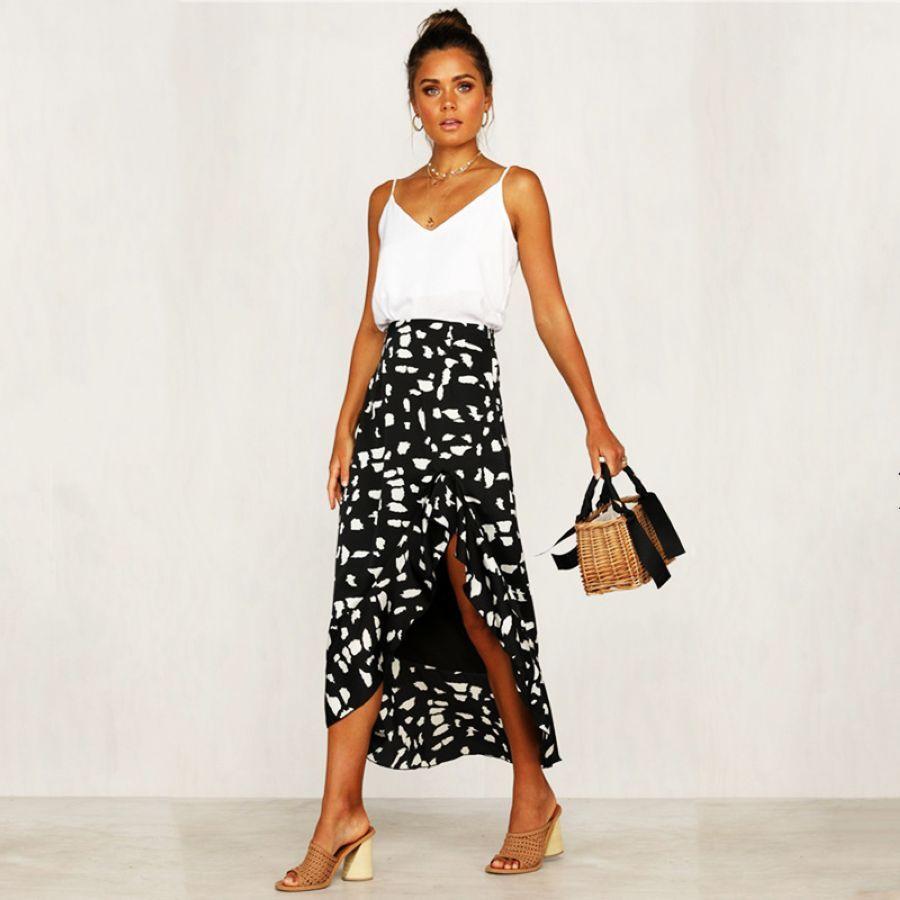 Women Sweet Ruffles Dot Skirts Elastic Waist Ladies Cas