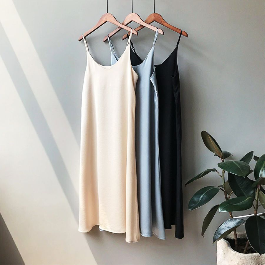 Mooirue Spring 2019 Woman Tank Dress Casual Satin Sexy Camisole