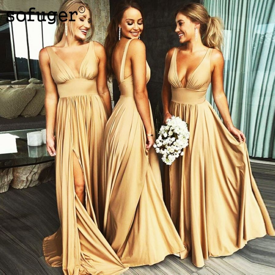 Champion Chiffon Bridesmaid Dresses A Line Straps V Neck Wedding