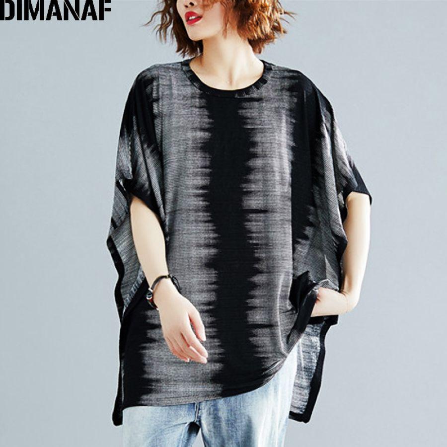 Dimanaf Plus Size Women T-Shirts Cotton Big Size Lady Tops