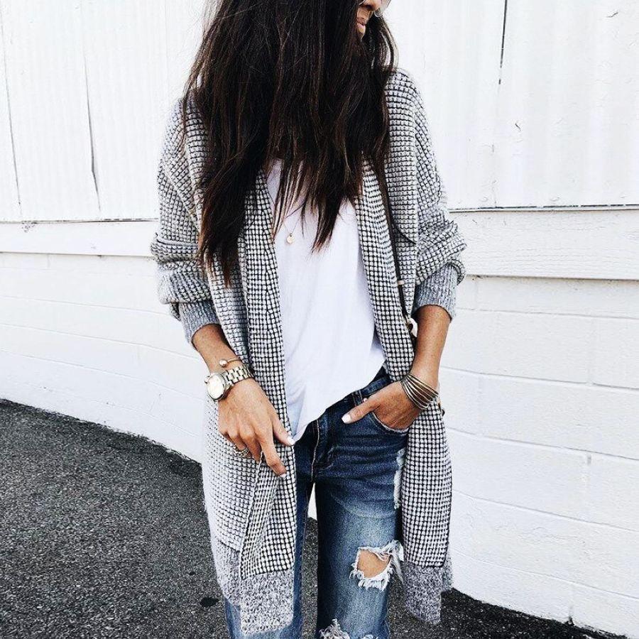 2019 Elastic Plaid Knitting Long Cardigan Women Spring Sweater Knitted