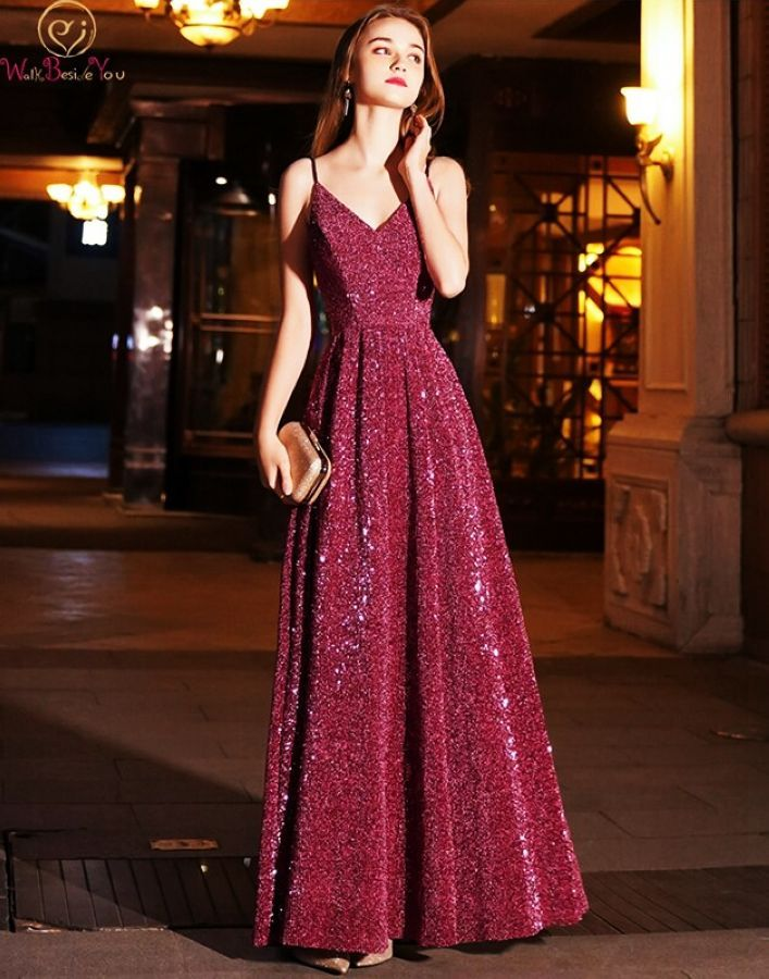 Wine Red Sequined Prom Dress 2019 New Spaghetti Straps A-Line