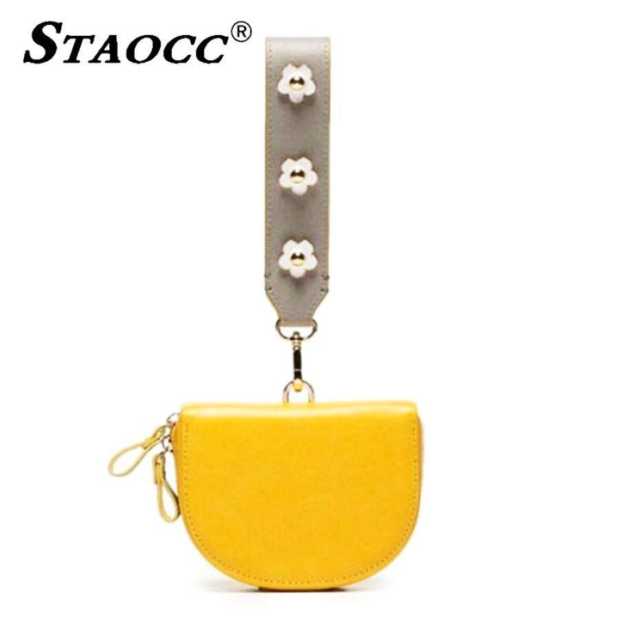 Women Mini Handbag Purses Clutch Bags Flower Wide Shoulder Strap