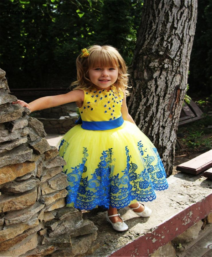 Beautiful Yellow Flower Girl Dress With Blue Appliques Belt New