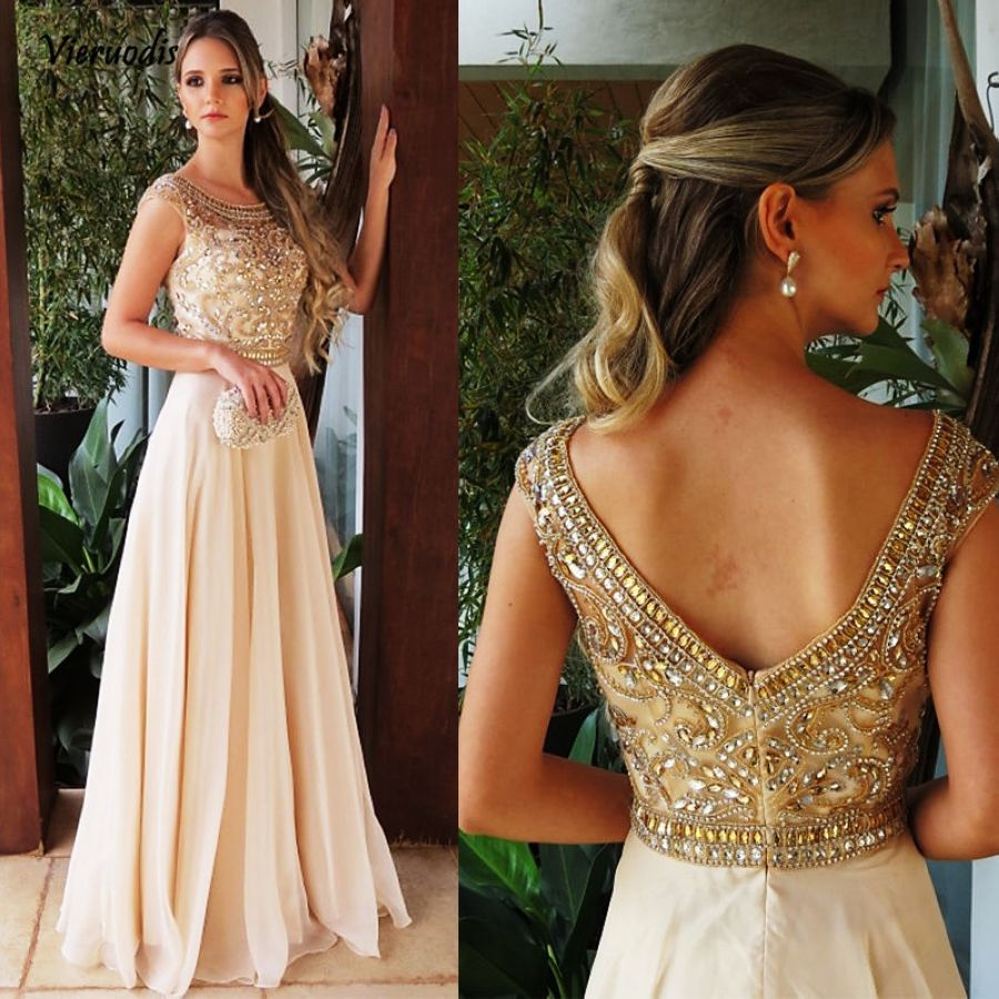 Special Occasion Dresses Scalloped Neckline Cap Sleeves Crystal Beaded Champagne