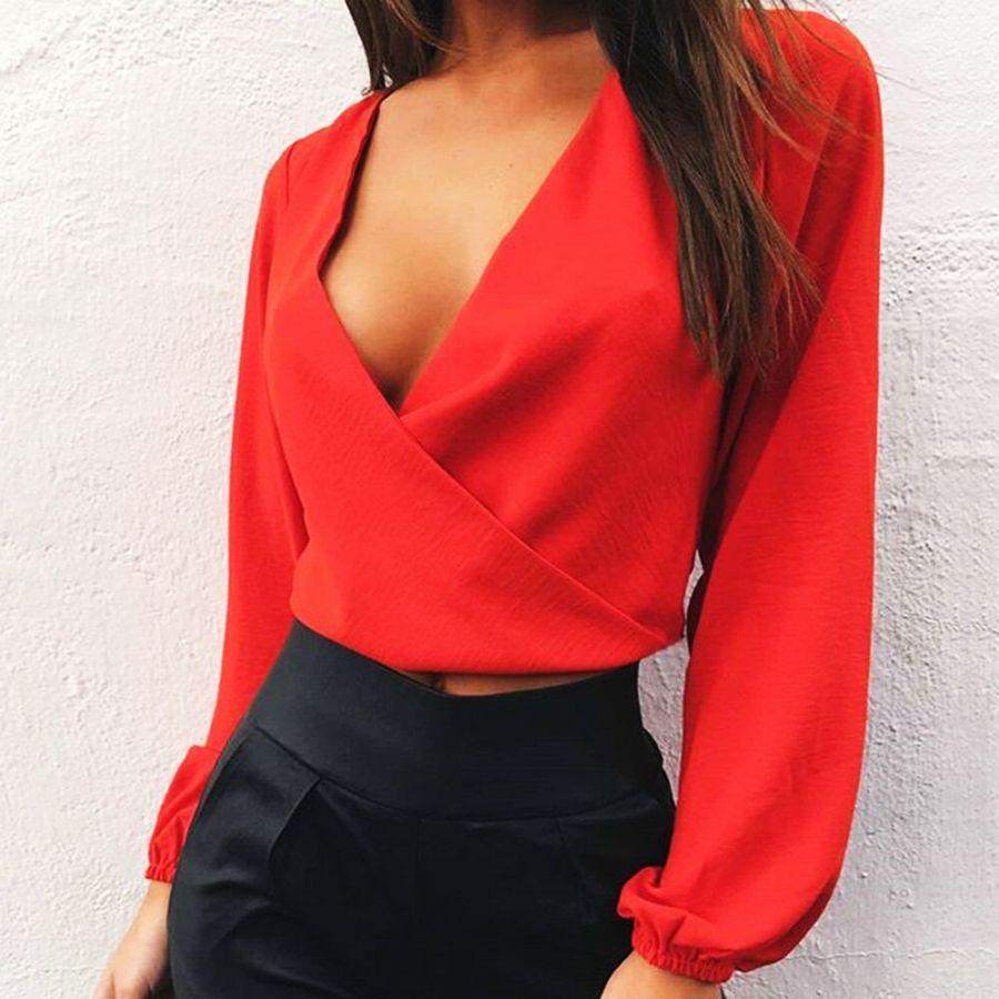 Deep V-Neck Womens T-Shirt Spring Backless Open Back Long Sleeve