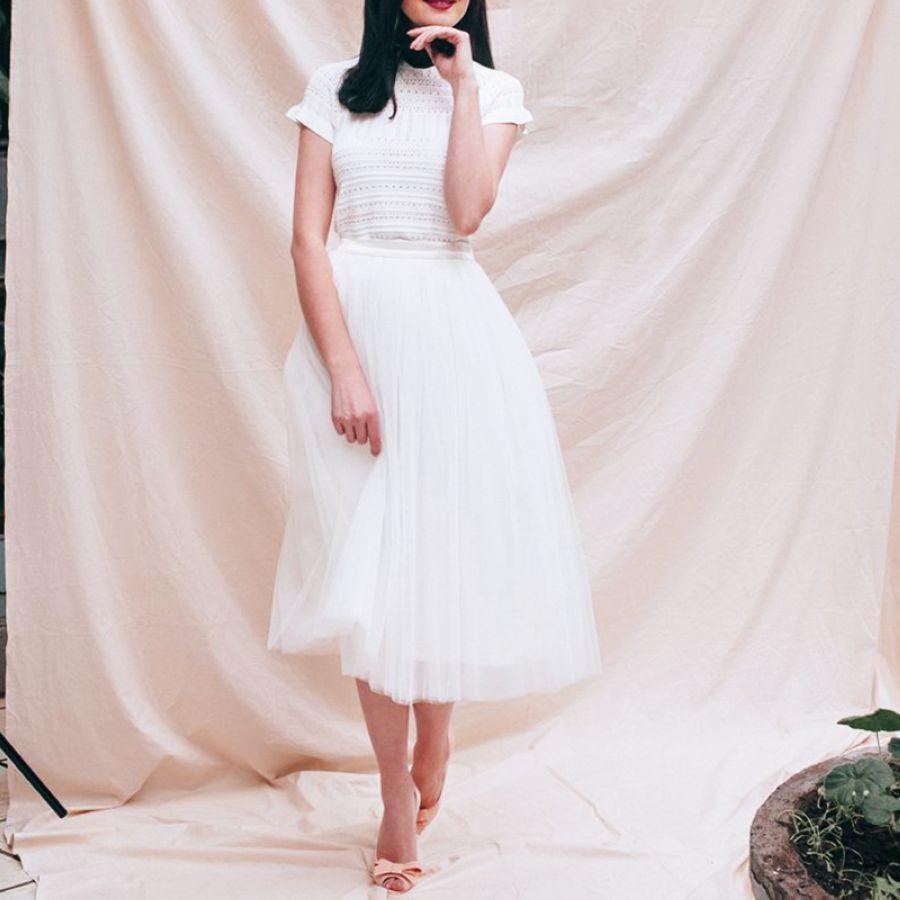 Fashion Tulle Skirt 4 Layers 80cm Midi Skirts Female High