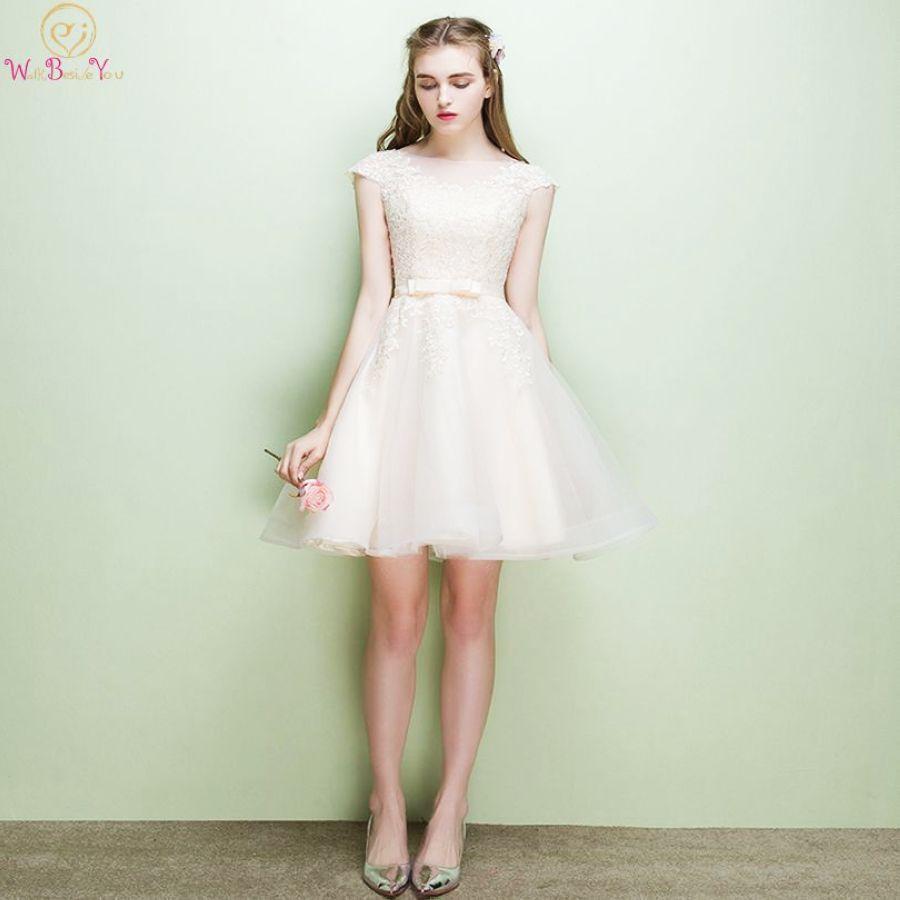 Lace Applique Bridesmaid Dresses Pink Short 2019 Champagne Cap Sleeve