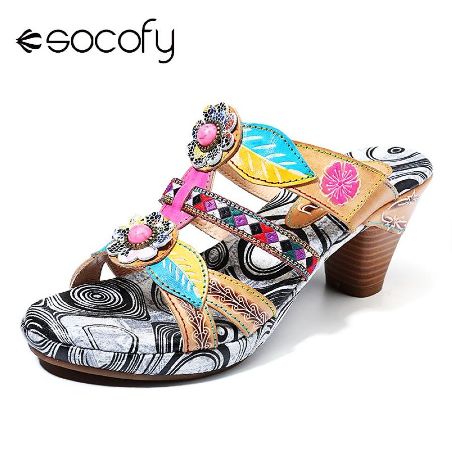 Shoes Socofy Bohemia Leaf Pattern Retro Floral Buckle Genuine Leather