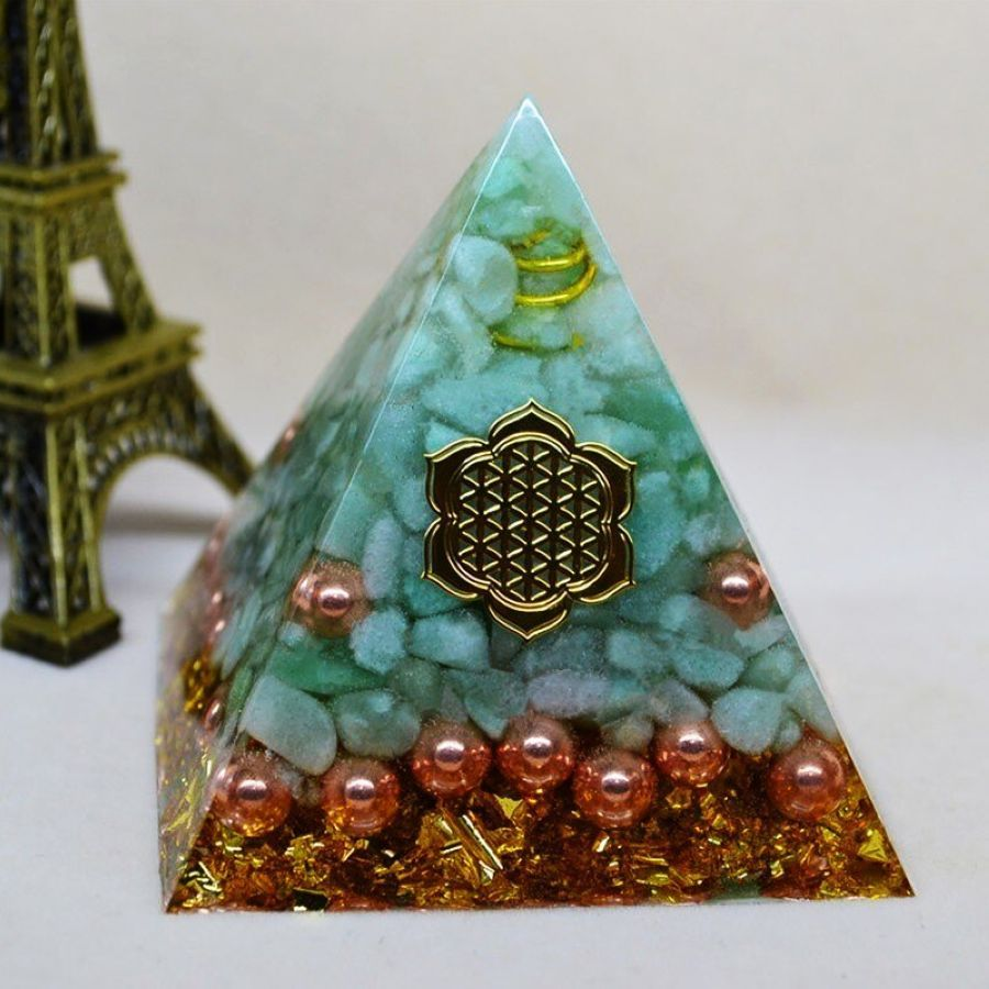 Orgonite Pyramid Natural Aura Tianhe Stone Crystal Energy Decoration Bring