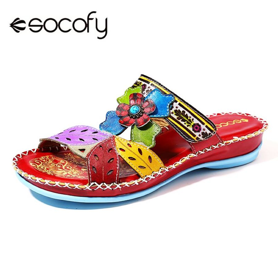 Shoes Socofy Bohemia Genuine Leather Stitching Floral Leaves Pattern Adjustable