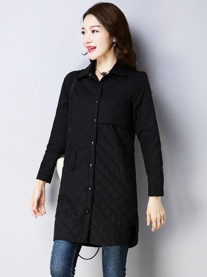 2019 New Cotton Coat Woman Solid Color Parker Elegant Long