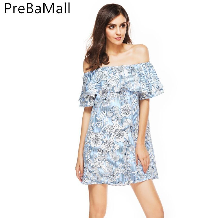 2019 Fashion Loose Mini Dress Women Print Flower Off Shoulder