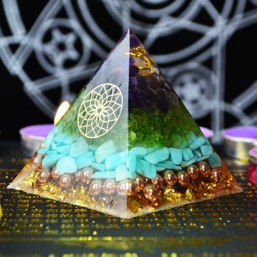 Reiki Healing Orgonite Pyramid Energy Converter Orgone Accumulator Stone That