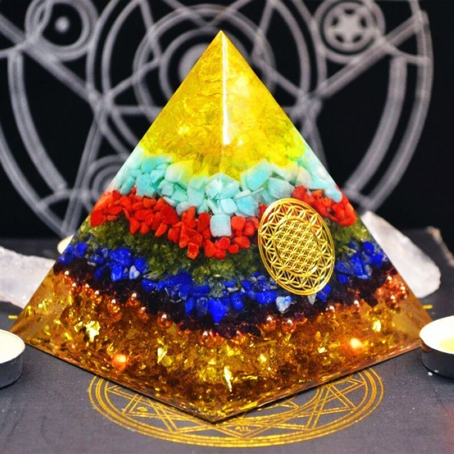 Orgonite Pyramid Reiki Fengshui Decoration Handmade Crystal Rune Orgone Energy