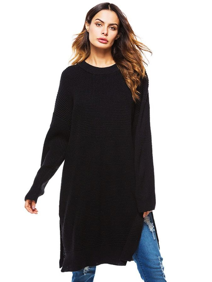 2019 New Fashion Long Sweater New Women Knit Pullover Large