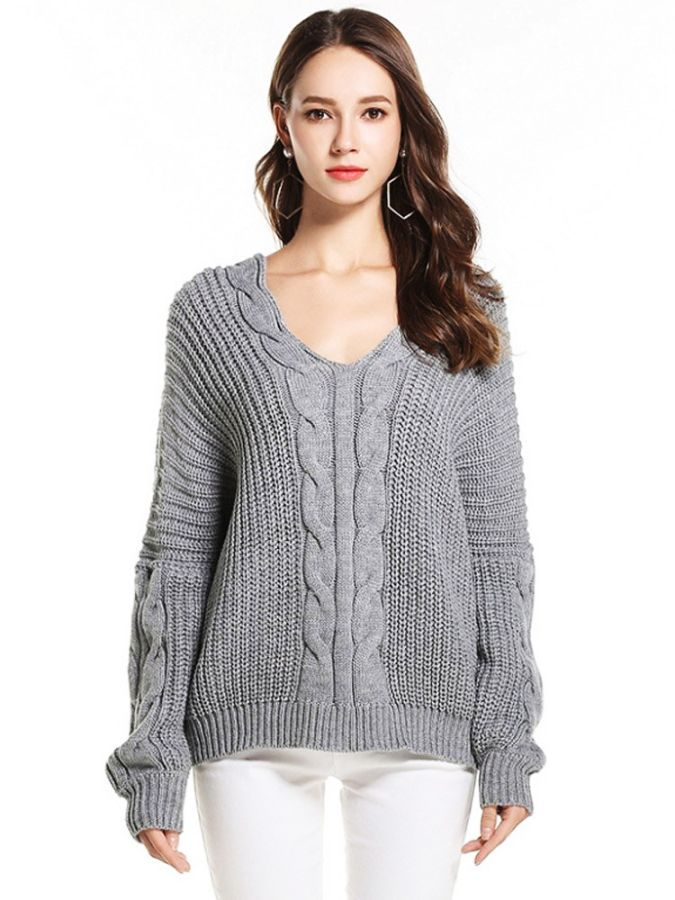 2019 Autumn Winter New Sweater European American Womens V-Neck Fashion
