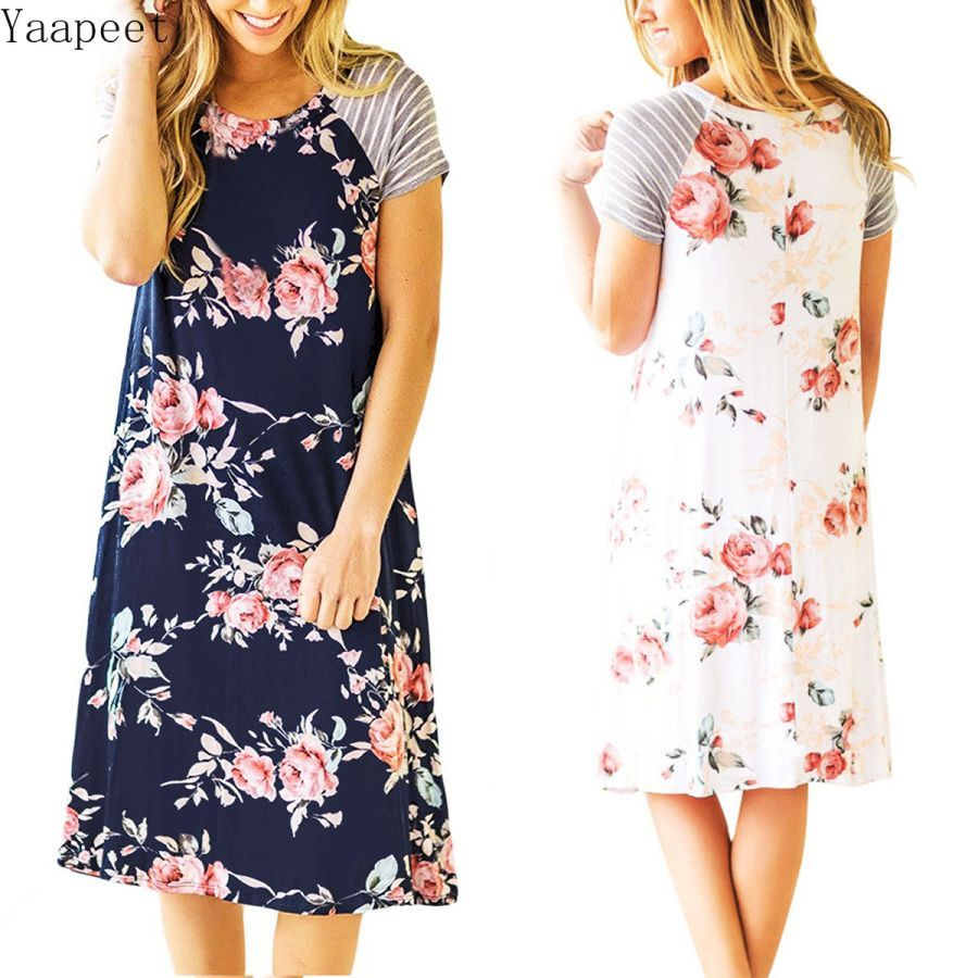 2019 Fashion Women Print Short Dress Elegant Lady O-Neck Dress