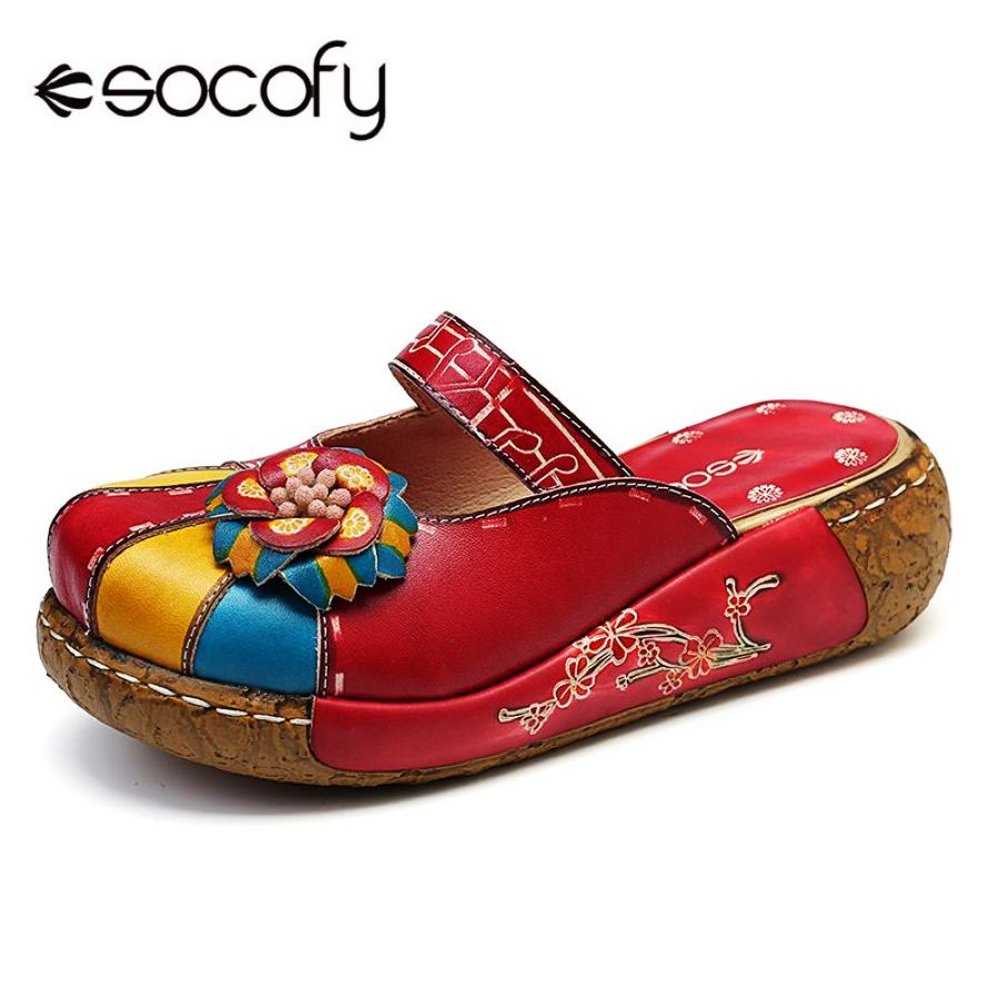 Shoes Socofy Retro Splicing Colorful Genuine Leather Handmade Floral Stitching