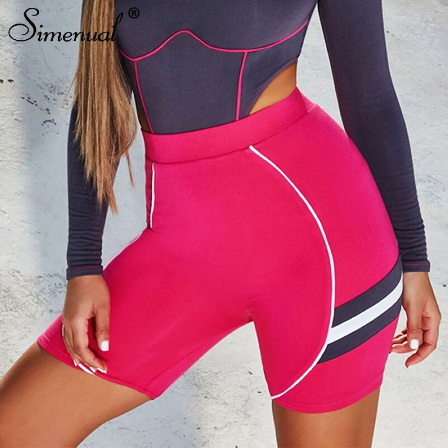 Simenual Sporty Fitness Active Wear Biker Shorts Women Striped Pink