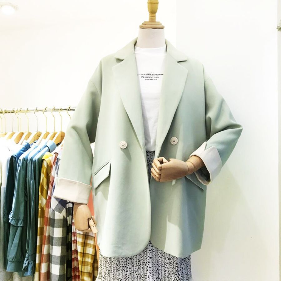 Buckle Long Sleeve Suit Coat Women Spring New Loose Casual