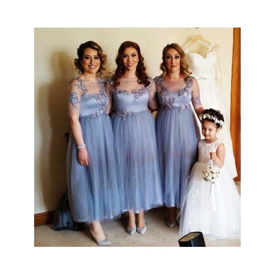 Lakeydra A-Line Bridesmaid Dresses Boat Neck Light Blue Tulle Illusion
