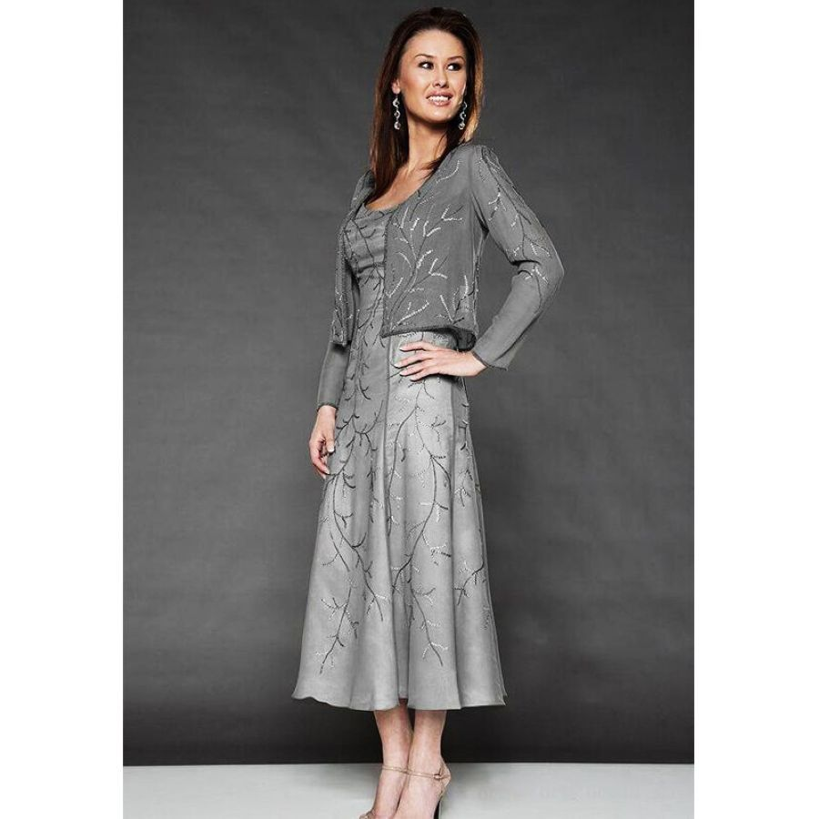 Lakeydra Grey Mother Of The Bride Dresses Chiffon With Jacket