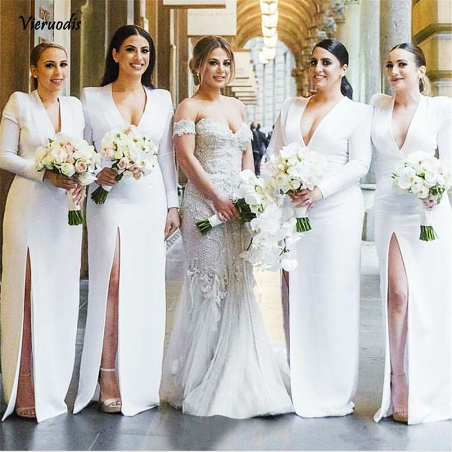 White Satin Bridesmaid Dresses V Neck Sheath Style High Split