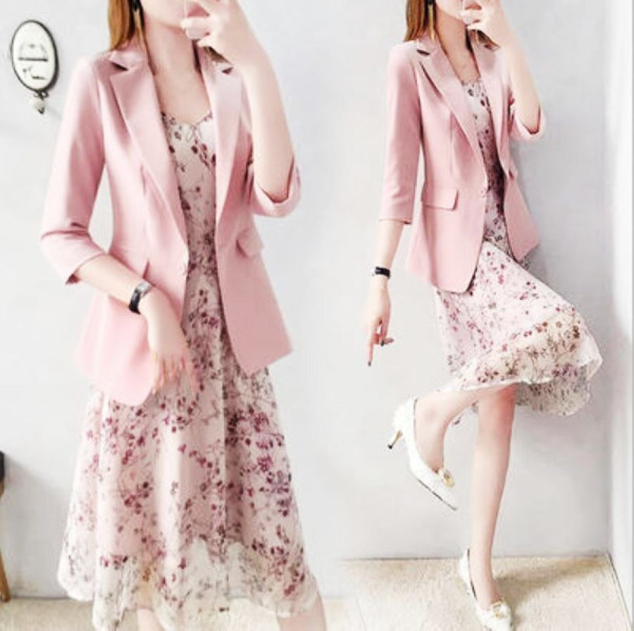 Women Elegant Floral Dress Suits For Women Pink Blazer And