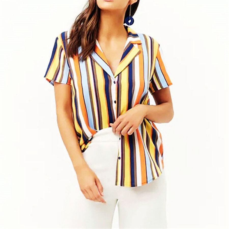 2019 New Arrived Fashion Women Blouse Short Sleeve Print Summer